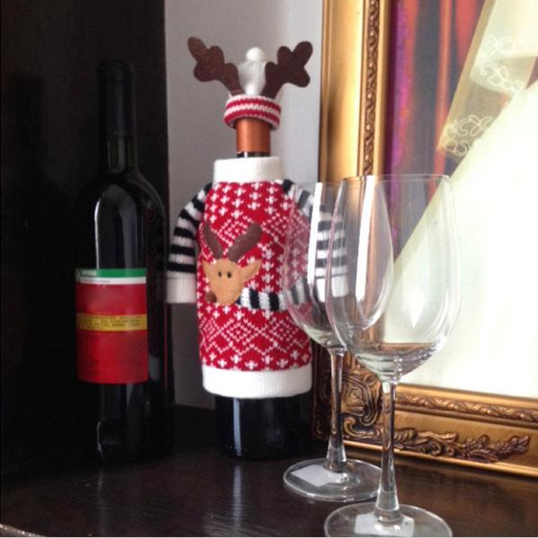 Wholesale-Red Wine Bottle Cover Bags Christmas Dinner Table Decoration Home Party Decors Santa Claus Christmas Supplier Elk Gift