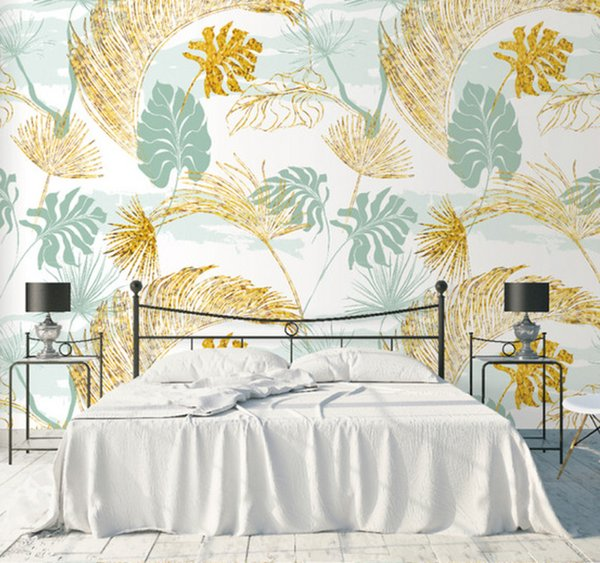 Northern Europe Fresh Gold Palm Leaf Elegant Wallpaper Bedroom Living Room Background Wall Decorative Painting Stickers