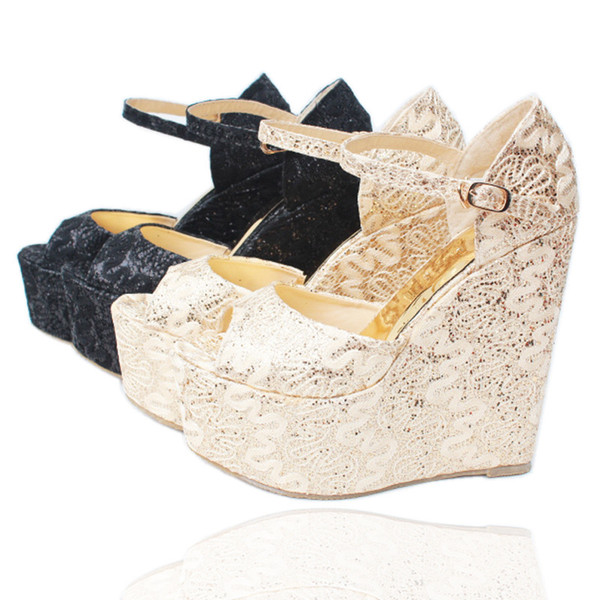 Summer Women's Shoes Ultra High Heels(15cm) with Platform Wedge Lace Wedding Shoes Peep Toe Female Sandals Bridal Pumps 30--43