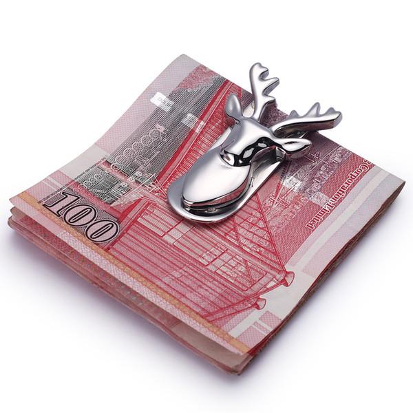 Moderne-Marke Neue 2016 Hirschkopf Geldscheinklammer Edelstahl Dünne Tasche Geldbörse Geldhalter Kartenorganisator Männer Frauen Brieftasche