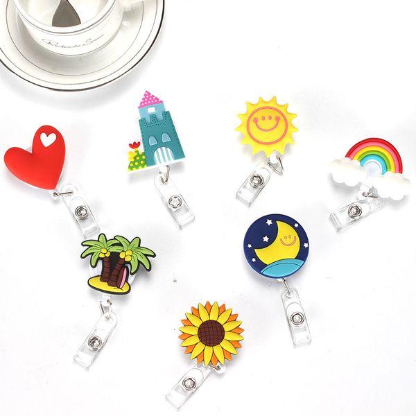 7 pcs/lot Lovely Heart Clouds House Design Nurse Retractable Badge Reel Pull ID Card 3D Badge Holder Belt Clip Hospital School Office