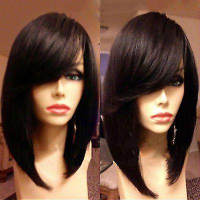 Bob straight human hair full lace wig with side bang 180% density brazilian hair lace front wigs for black women