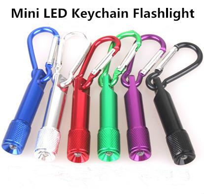 Best Portable Mini LED Flashlight Keychain Aluminum Alloy Torch with Carabiner Ring Keyrings LED mini Flashlight Mini-light free shipping