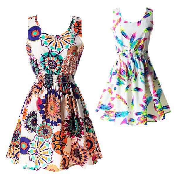best selling Hot Fashion Summer Hot Sexy Women Tank Chiffon Beach Dress Sleeveless Sundress Floral Mini Dresses M-XXL 21 Colors New Arrival