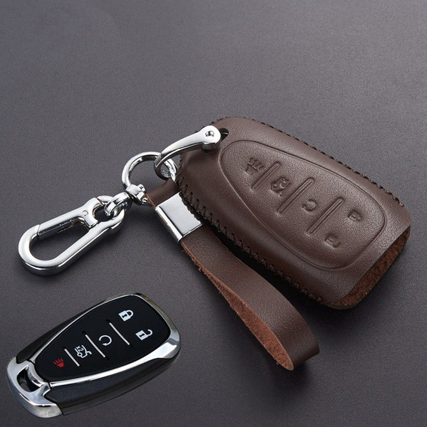 Leather Keyless Entry Remote Car Key Fob Cover Case for Chevrolet/Chevy 2016 2017 Malibu Cruze Camaro Key Chain Holder Accessories