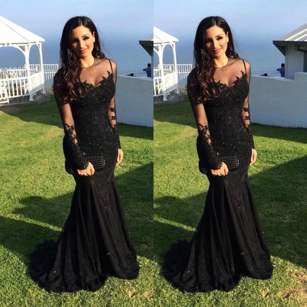 Вечерние платья Sexy Арабский жемчужина шеи иллюзия кружева аппликации кристалл бисером черная русалка с длинными рукавами вечернее платье выпускного вечера платья