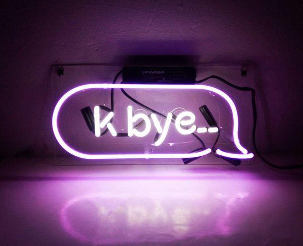 "14""X6"" K Bye Handcraft Neon Sign Store Beer Bar Diaplay Vintage Bontique Light Artwork"