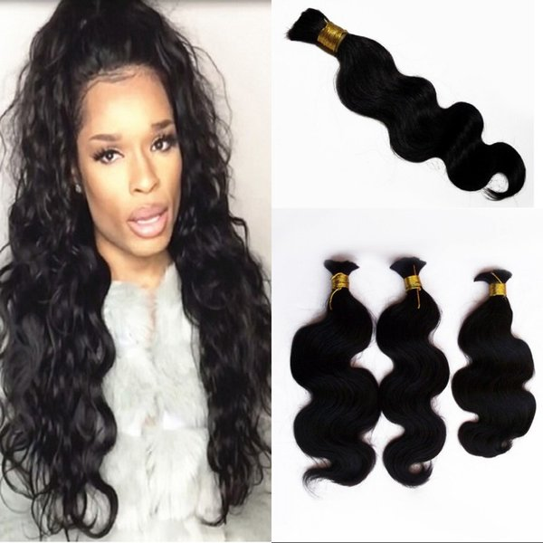 4 Bundles Bulk Human Hair for Braiding Malaysian Body Wave Natural Color Bulk Hair 100g/pc G-EASY