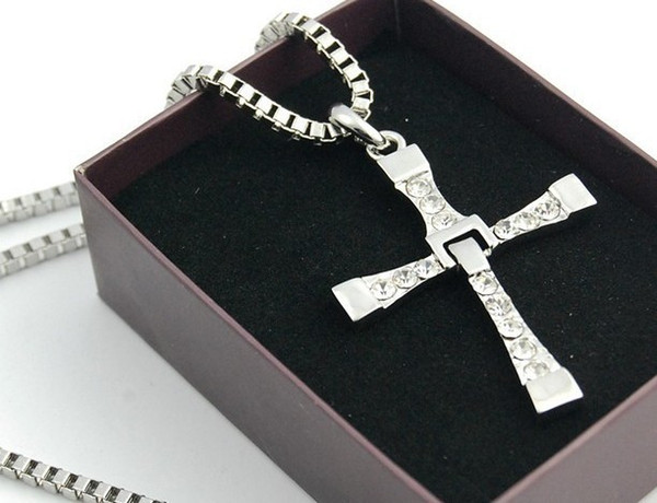 Fast And Furious Necklace Cross Pendant Alloy Necklace White Crystal Fashion Foldable Necklace Movie Jewelry Gift Free Shipping