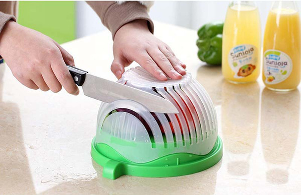 Salad Cutter, Bowl Bowl for cleaning fruits and vegetables,Container convenient for cutting salad,2 color ,free shipping