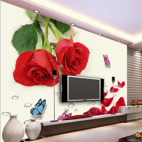 Acquista Caldo Rose Rosse Fiori 3d 3d Tv Sfondo Sfondi Soggiorno ...