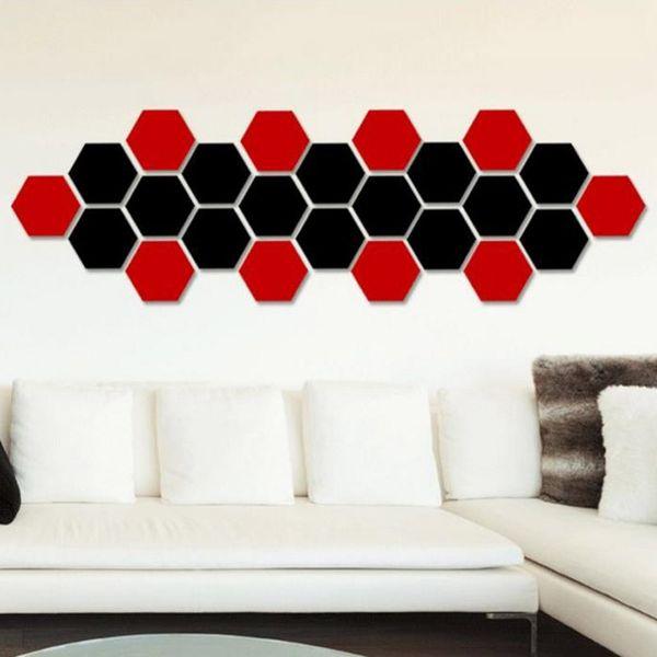 Sıcak satış altıgen ayna çevre koruma akrilik duvar çıkartmaları arka plan duvar dekore kristal üç boyutlu ayna
