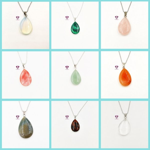 Wholesale-Quartz Crystal Gem Natural Stone Chakra Point Healing Water Drop Pendant Necklace For Women free shipping