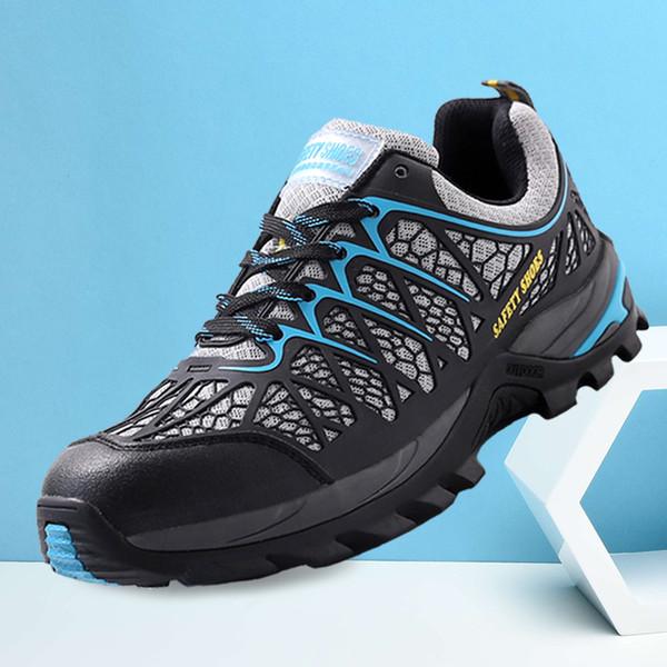 Zapatos de seguridad con punta de acero transpirable para hombres con Kevlar Puctur, resistentes a los deslizamientos, resistencia al deslizamiento, botas ligeras de trabajo