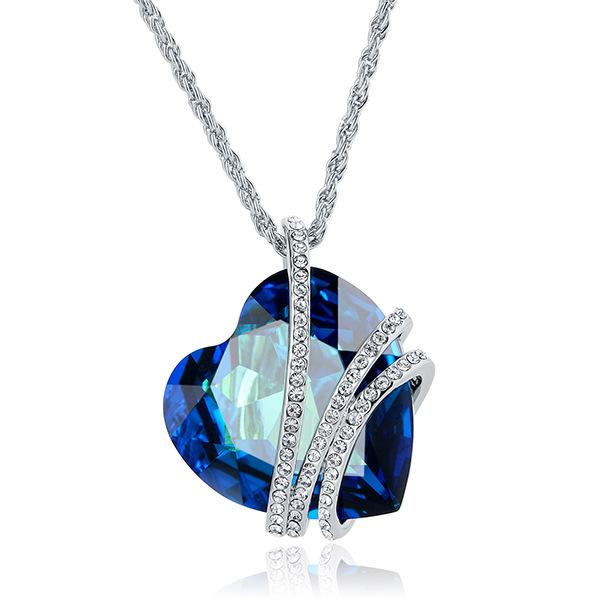top-rated original buy best dirt cheap Wholesale 9 Heart Swarovski Crystal Necklaces High Grade Brief Paragraph  Heart Shaped Pendant Crystal Necklace Women'S Jewelry Silver Pendant  Necklace ...