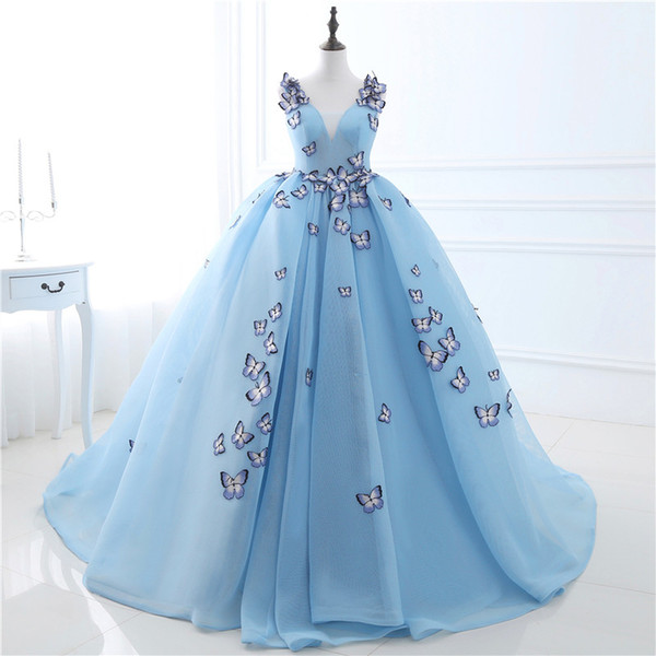 best selling Stock V-neck Butterfly Flowers Ball Gowns Long Prom Dress Blue Prom Dress Puffy High Quality Event Gowns US2 4 6 8 10 12 14 16