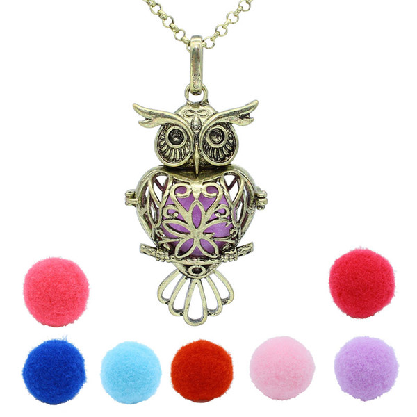Aromatherapy Jewelry Antique Bronze Heart Owl Hollow Locket Openable Pendant Essential Oil Diffuser Necklace With 7 Pompons Cotton Balls