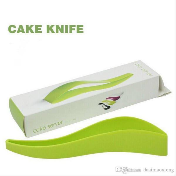Spedizione gratuita Green Cake Pie Slicer Foglio Eco-Friendly food-grade plastica Cutter Server Pane Slice Knife Kitchen Gadget tool