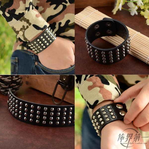Wholesale-Punk Unique Row Cuspidal Spikes Rivet Stud Wide Cuff Leather Gothic Rock Unisex Bangle Bracelet men jewelry