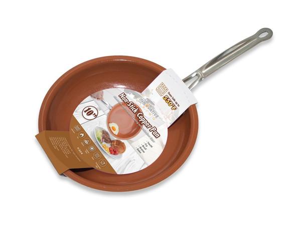 Seramik yapıştırma ve indüksiyon pişirme fırın bulaşık makinesi güvenli 10 inç ile yüksek kaliteli yapışmaz bakır tava