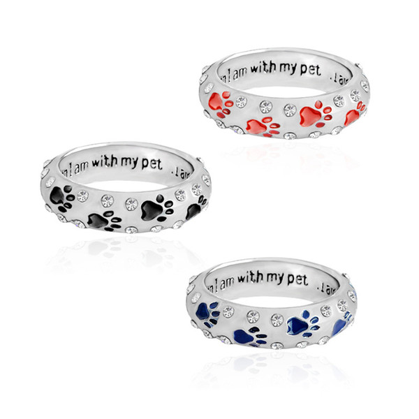 "Fashion Metal Rhinestone Hand Stamped Paw Print""when I am with my pet""Dog Animal Pet Rings Foot Print Pet"