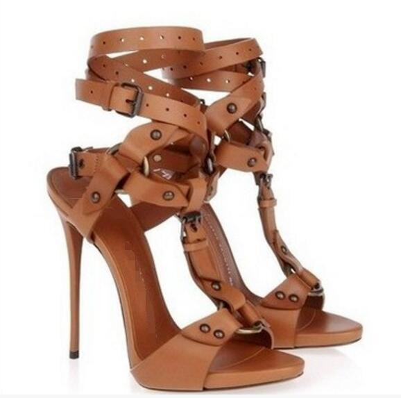 2017 Summer Women Gladiator Sandals Sexy Peep Toe Buckle Sandals Black Dress Shoe Leather High Heels Party Shoes Thin Heel 12cm Fringe Sandals Silver