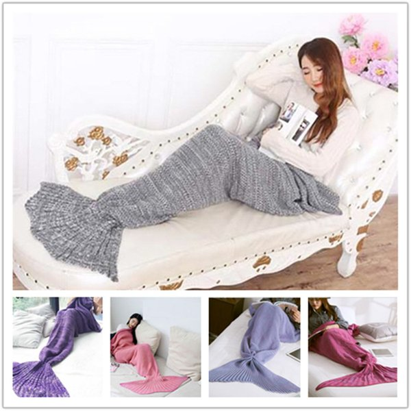 best selling Wholesale-Adult Blankets Mermaid Tail Fish Blankets Women Sleeping Bag Bedding Warm Soft Handmade Knitted Sofa Blanket A0515