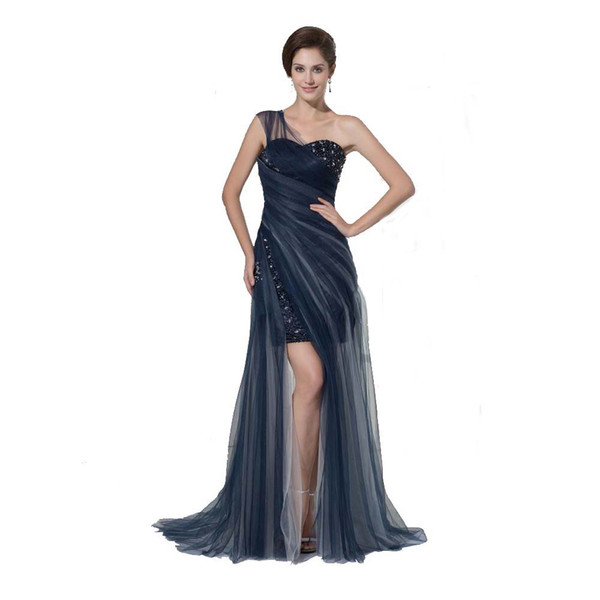 Latest European Style One Shoulder Elegant Evening Dress Fashion Ladies Long Gown Tulle Beaded Special Occasion Dress