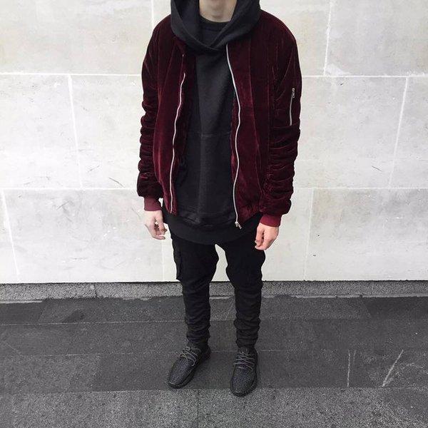 All'ingrosso- 2016 moda Kanye West oversize giacche vintage vino rosso uomo donna tessuto in velluto manica pieghettato designer giacca bomber cappotti