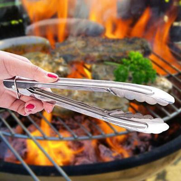Stainless Steel Food Tongs Kitchen Buffet Cooking Tool Anti Heat BBQ Clip Kitchen Clamp Barbecue Tongs