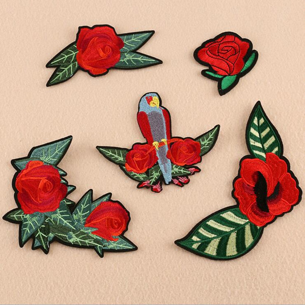 5PCS/SET Flower Bird Applique Embroidered Iron on Patches For Clothes Bags Fabric Sticker For Repair Handwork Craft Decoration