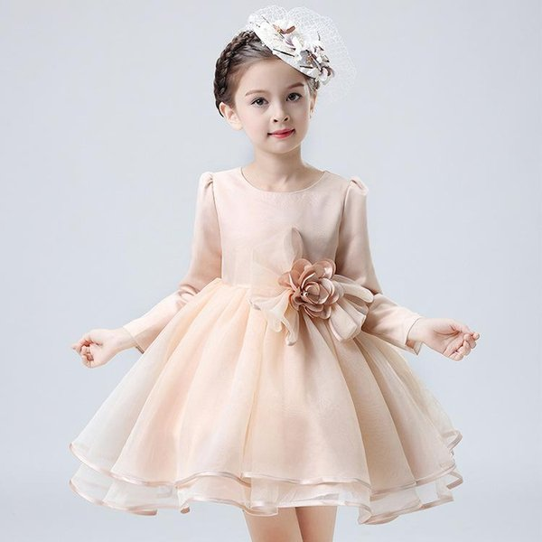 Free Shipping Ball Gown Short/Mini Tutu Long Sleeves Boat Neck Cheap Flower Girl Dresses for Wedding with Petals