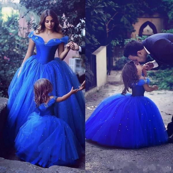 Adorable Cinderella Flower Girl Dresses Royal Blue Kids Pageant Gowns Off Shoulder Beaded Ball Gown Communion Special Occasion For Weddings