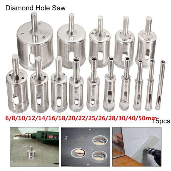 15pcs 6-50mm Diamond Hole Saw Drill Bit Set Tile Ceramic Glass Marble Drill Bits