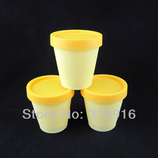 Free shipping - 20pcs/lot 200g cylinder mask PP bottle, 7oz round facial mask cream jars,containers yellow color