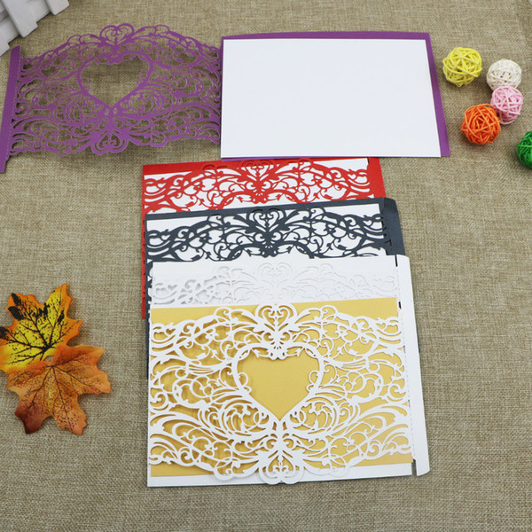 2017 New 50Pcs/Lot Wedding Supplies Hollow Love-type Laser Cut Invitations Cards with Blank insert card For Wedding Invitations