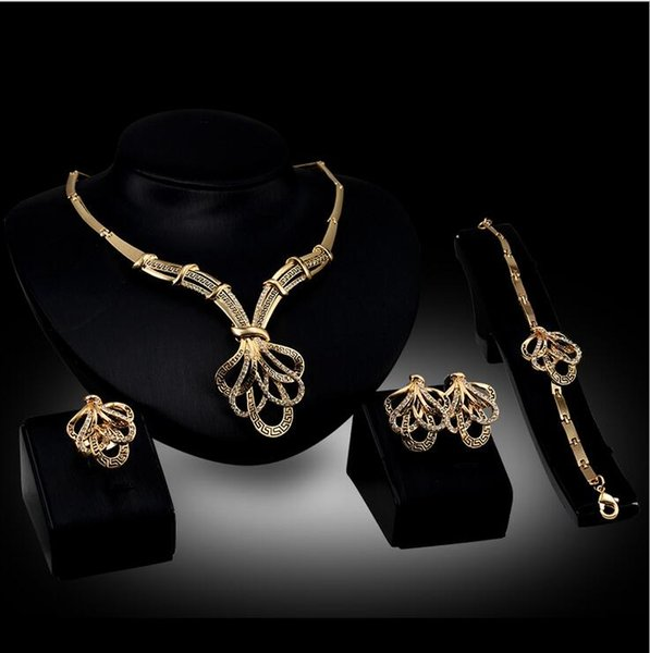 12set 2017 African fashion new golden plated long jewelry set bride wedding party crystal necklace earrings ring jewelry set F10348
