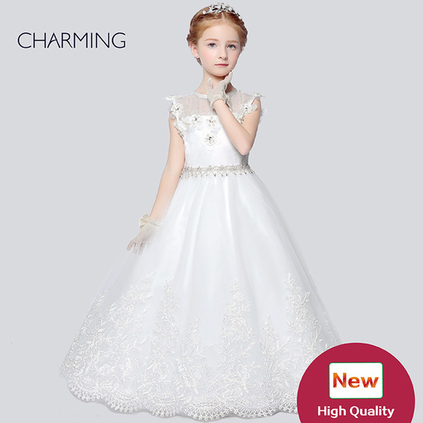 Toddler flower girl dresses Designer kids dresses Flower girl dress ivory high quality Pageant dresses for girls China suppliers