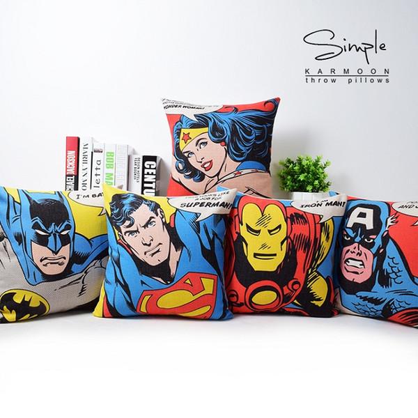 American Pop Style Super Heros Cushion Cover Captain America Superman Iron Man Batman Pillow Covers Decorative Sofa Chair Linen Pillow Case