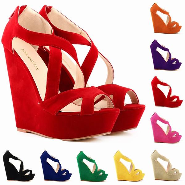 Chaussure Femme mujeres de la manera recortadas bombas de plataforma de gamuza sintética Peep Toe tacones altos zapatos de cuña Sandalias tamaño 35-42 D0083
