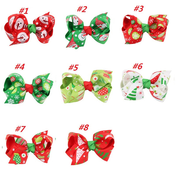 20pcs Christmas Ribbon Hair Bows WITH CLIP for Christmas Party Decoration 3 inch Boutique Hair Bows Kids Christmas Gift