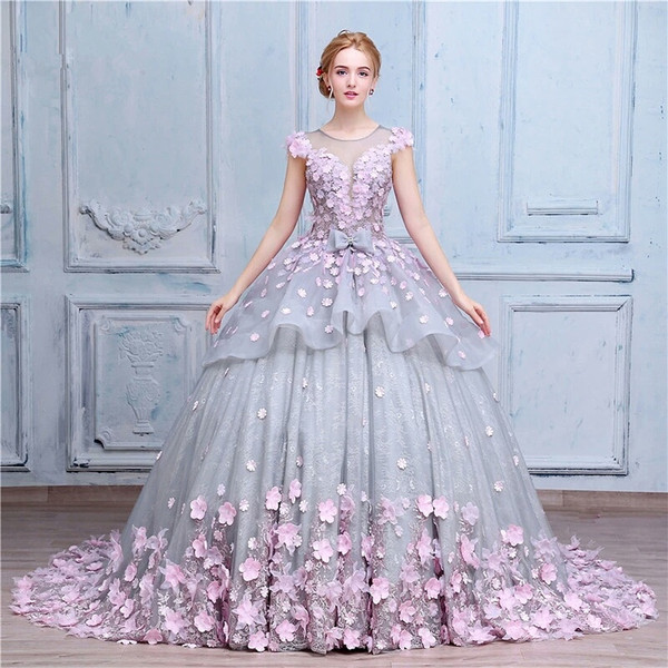 Vintage country romantic ball gown wedding dresses 2017 jewel neck vintage country romantic ball gown wedding dresses 2017 jewel neck cap sleeve lace grey and pink mightylinksfo