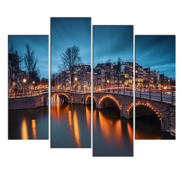 Modern Art Wall Decor 4 PCS Painting City Bridge Night View Landscape Canvas Pictures Custom Canvas Prints for Home Décor