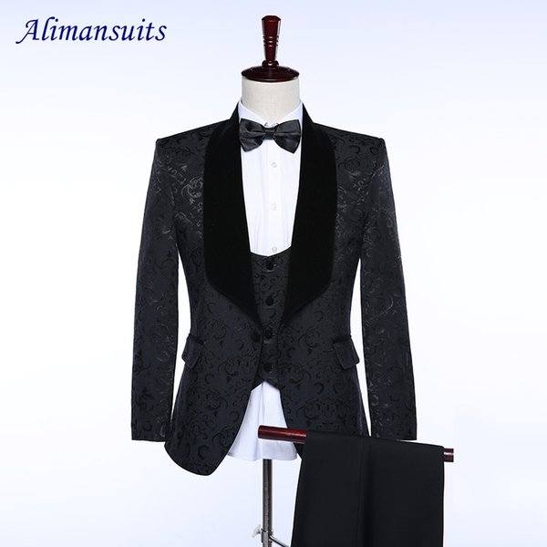 New Brand Groom Tuxedos Red White Black Men Suits Wedding Prom ...