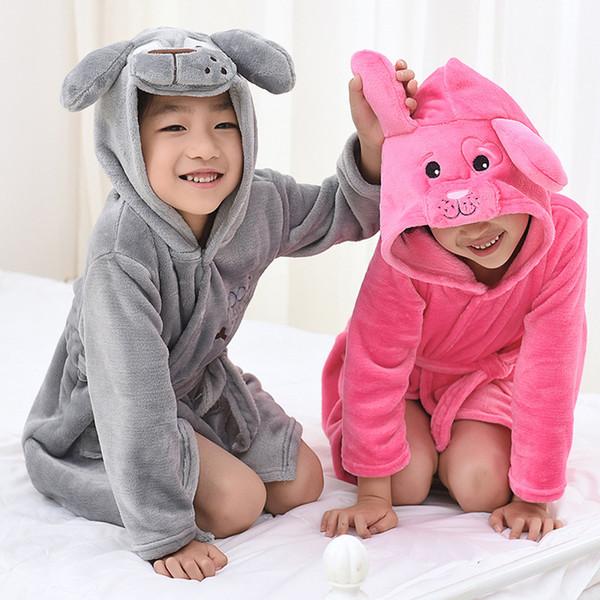 Hooded Bathrobe 5 Colors Cartoon Animal Dog Beautiful Style Baby Cotton Towel Girls Boys Clothing Pajamas