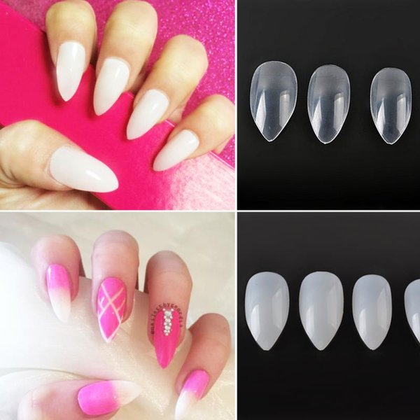 Wholesale- 600Pcs/set Nail Art Clear/Natural Full Cover Oval sharp ...