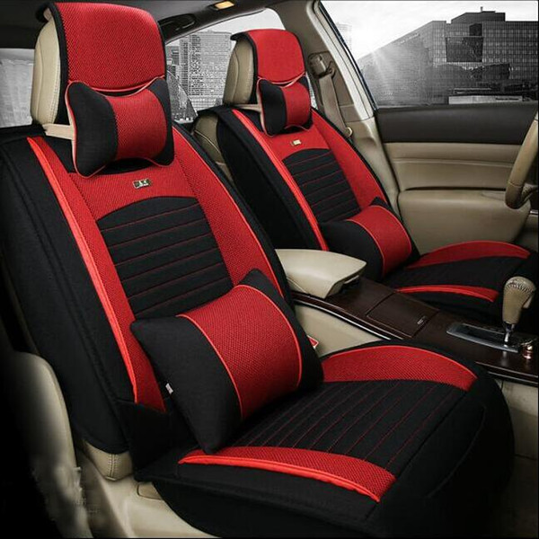 Car Seat Covers Headrest Cushion Car Covers Black Flax Material ...