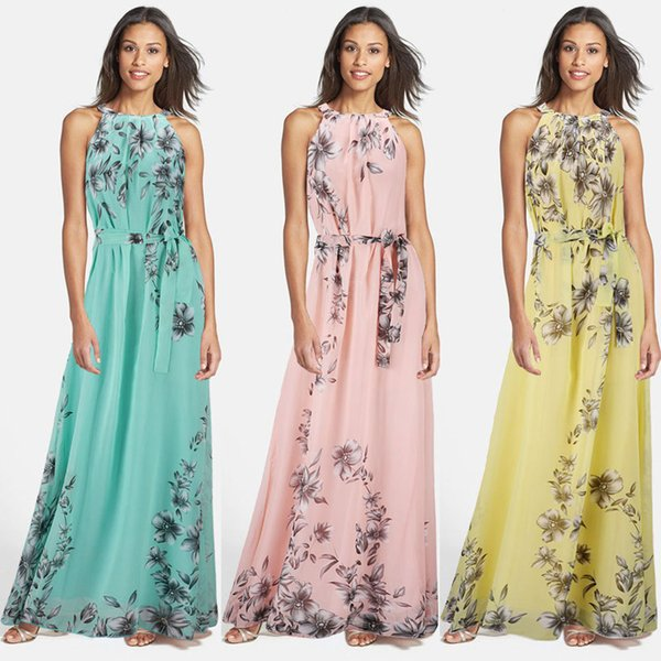 Robes longues en mousseline de soie vintage pour femmes sans manches fleur imprimées robes d'été Turquoise surdimensionné M ~ 6XL SQ-016
