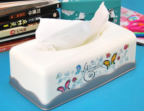 Wholesale- Rectangular Plastic Painted Vintage Retro Kleenex Facial Tissue Box Holder Classical Design Table Recoration [1 PC White]