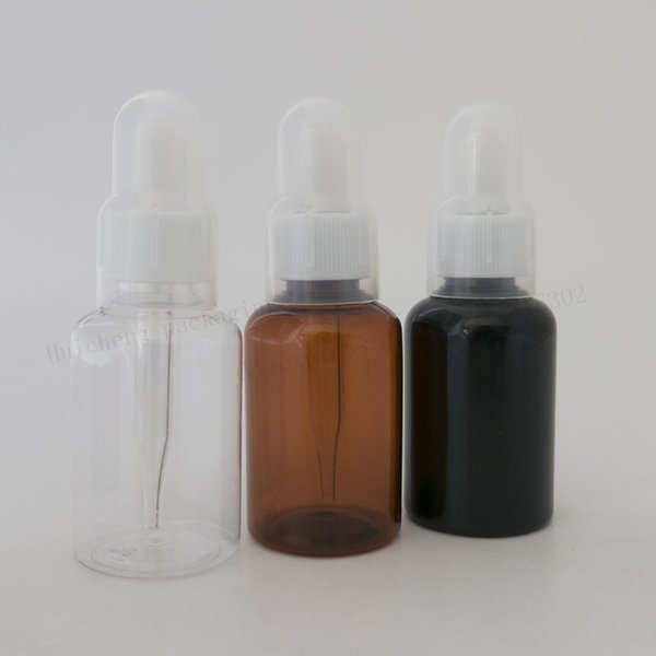 50 X 35ml Amber Clear Green Plastic Dropper Bottle 35cc Brown PET Plastic Cosmetic Container for Essential Oil Use